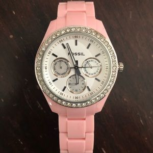 Women's Fossil Pink Acrylic Boyfriend Watch